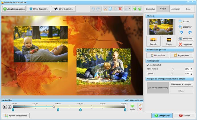 Téléchargez ce logiciel et profitez d'outils professionnels pour créer de beaux diaporamas musicaux. + de 150 effets, modèles et nombreux formats !
