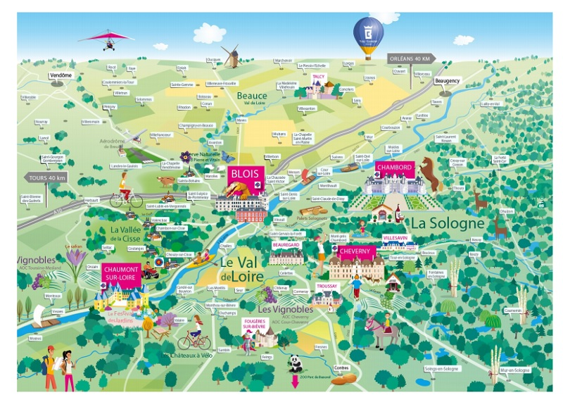 Carte touristique chateaux de la loire